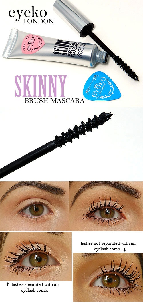 #SEPHORA :: Eyeko London Skinny Brush Mascara :: $19 | sephora.com :: Lengthening. Conditioning ingredients to promote growth/prevent breakage. Ultra-black, glossy formula--no flakes/clumps. Comes w/ lash guard. No sulfates, synthetic fragrances/dyes, petrochemicals, phthalates, GMOs, triclosan. Tube =  u can squeeze out every bit! :: #missnattysbeautydiary review: Lashes look very curled  super black/long/voluminous. Doesn't smudge. Need to comb lashes. Apply continuos coats before it…