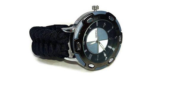 Men's black watch  Paracord watch Sport watch Black