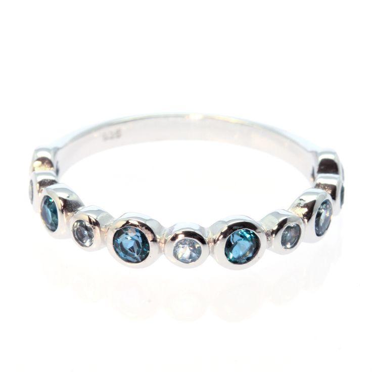 Blue Topaz Half Eternity Ring