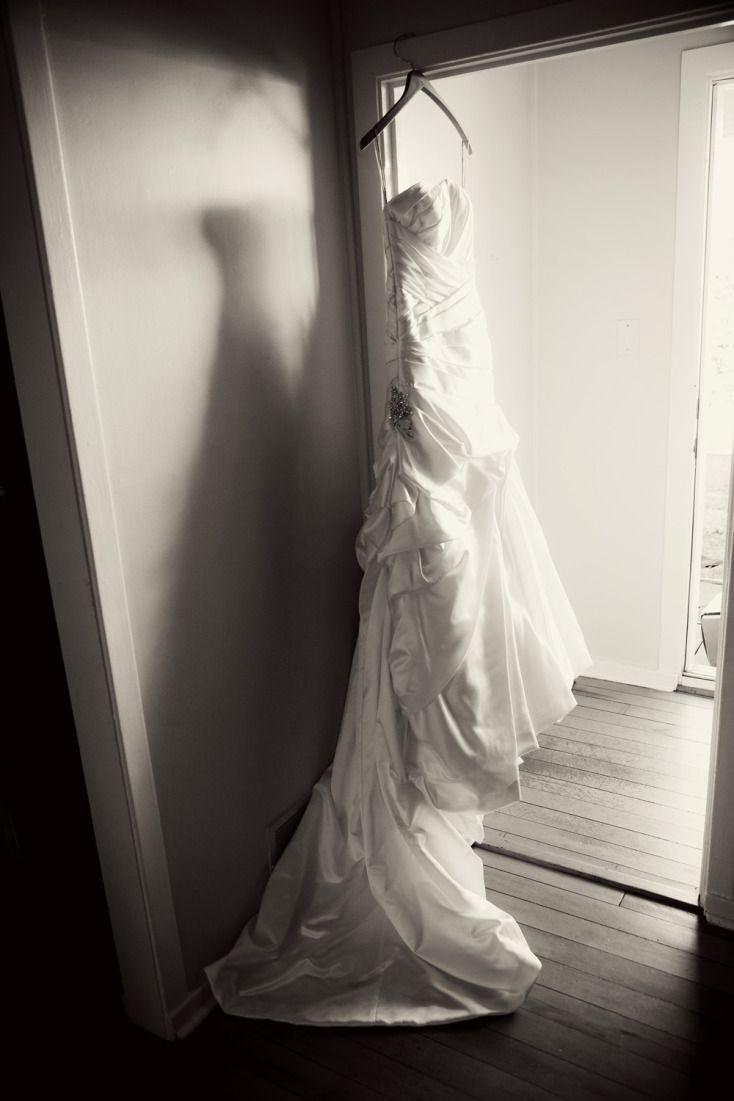 Hanging Wedding Dress Black and White ©Alicia Robichaud Photography www.arfoto.ca