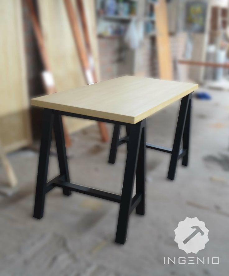 Escritorio para estudio tablero enchapado en lamina de madera m s patas tipo caballete color - Tablero escritorio ...