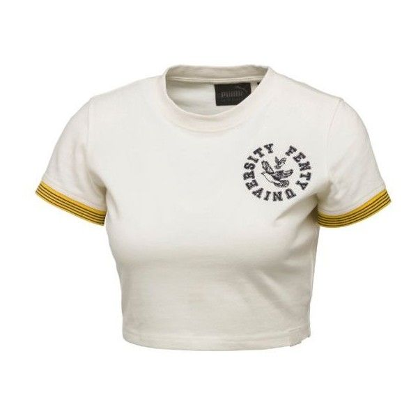 FENTY Women's Cropped Vintage Tee - US ($60) ❤ liked on Polyvore featuring tops, t-shirts, white crop tee, white crop top, white tees, white t shirt and cut-out crop tops