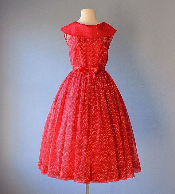 Vintage 1950s TEEN COLONY Red Organza Polka Dot Party Dress