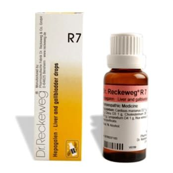 Dr.Reckeweg 7 drops - Homeopathic drops for symptoms of liver and gall bladder disease like poor appetite, constipation etc. Buy online at homeomart, COD+free shipping