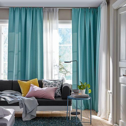 Vilborg Room Darkening Curtains 1 Pair White Turquoise In 2019