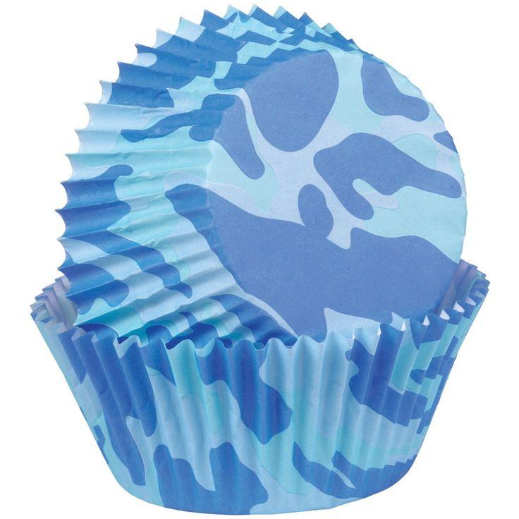 Wilton Standard Baking Cups-Blue Camo 75/Pkg - blue camo 75/pkg