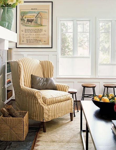 Cute Striped Slipcover On Wingchair