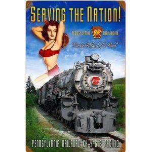 "Railroad Tin Sign - ""PENNSYLVANIA RAILROAD K-4"" Pin Up Rail Girl -PRR"