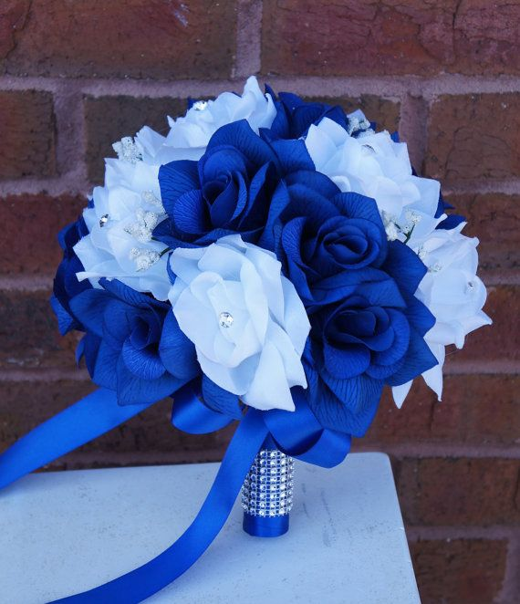 "9"" Bouquet:Royal Blue &White(Horizon Blue)"