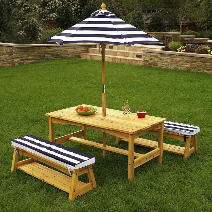 Theminimanor.com.au KidKraft Outdoor Table U0026 Bench Set With Cushions U0026  Umbrella U2013 Navy U0026 White Stripes The Outdoor Patio Set Is Ideal For Enjoying  A Picnic, ...