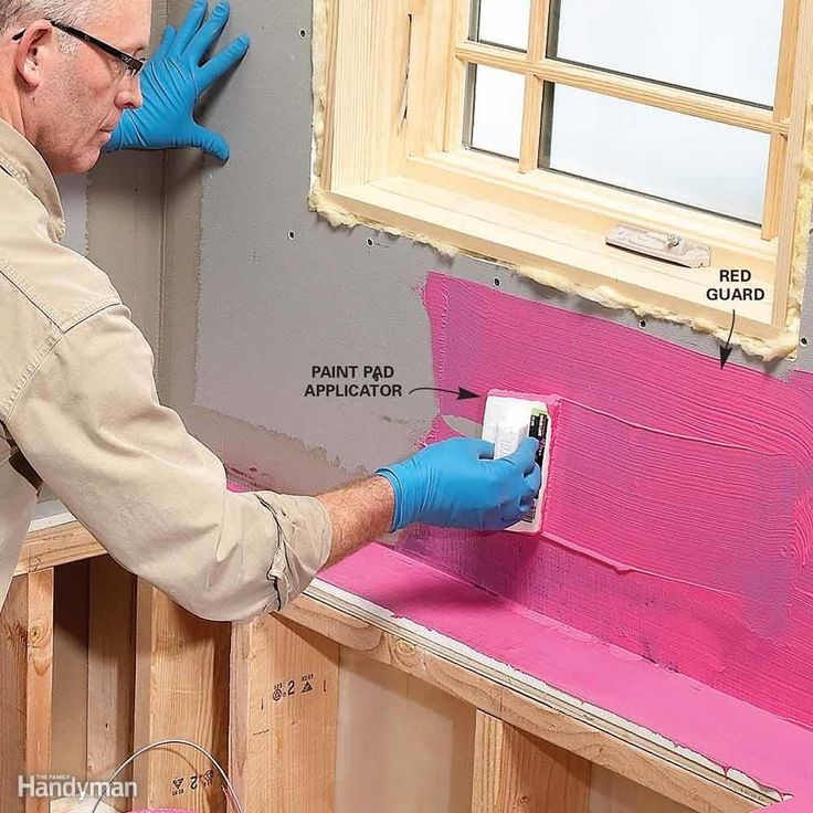 The only sure way to keep water from reaching the backer board is to waterproof all areas that may be exposed to water. That's easy with the new waterproofing coatings (RedGuard is one brand). If you're in doubt about potential water problems, coat the area with waterproofing. Follow the application instructions on the container. You can apply it with an inexpensive paint pad, which allows you to quickly spread a thick, even layer. You can also use a brush or roller.