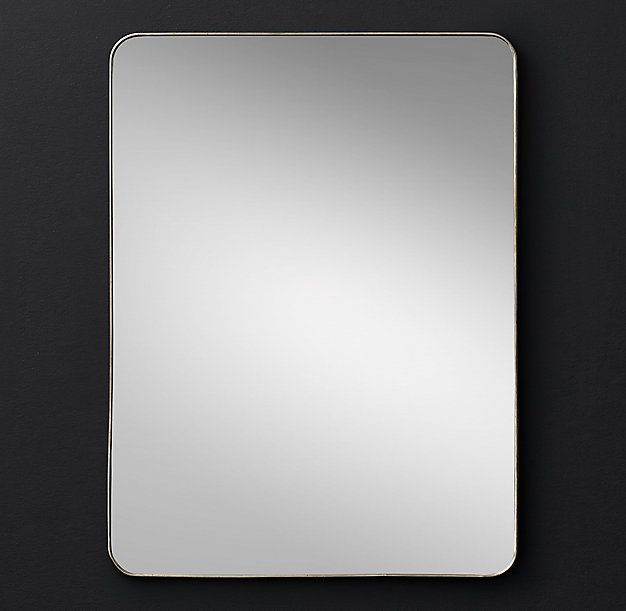 """RH Modern's Lucent Mirror - 30"""" X 40"""":The simple, clean silhouette of our low-profile frame is subtly highlighted by its polished finish – showcasing the luminous clarity of the looking glass itself."""