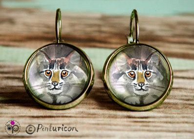 Cats Earrings Glass Cabochon Earrings Dangle Cat by Pinturicon