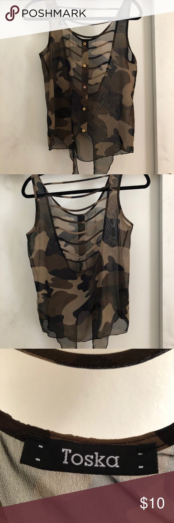 Sheer camo tank top Such a cute top! Ties in front and has an open back with slats. It doesn't have a size tag, but I would say it fits like a small. Maybe a medium. Only worn twice! OPEN TO OFFERS 😊 Toska Tops Tank Tops