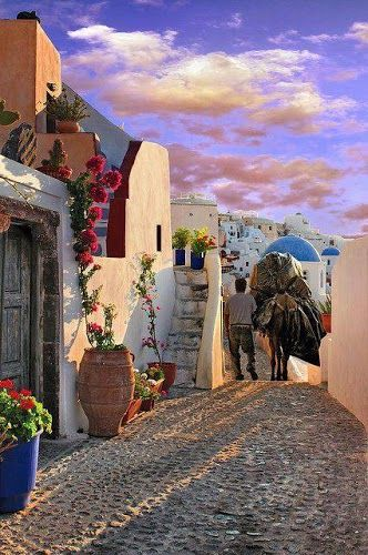 Santorini, Greece -  is a volcanic island in the Cyclades group of the Greek islands. It is located between Ios and Anafi islands. It is famous for dramatic views, stunning sunsets from Oia town, the strange white aubergine (eggplant), the town of Thira and naturally its very own active volcano.