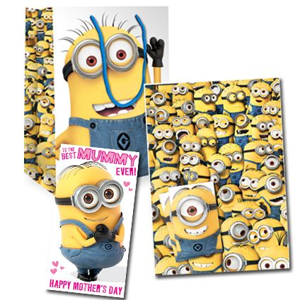 Official Despicable Me Minion Mother's Day Card, Wrap and Bag Set now available with Free 1st Class UK Postage from Publishers Danilo.com at http://bit.ly/MotherDayCardsWrap