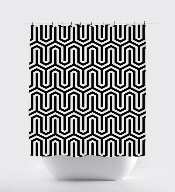 modern Shower Curtain black white geometric high by PrintArtShoppe