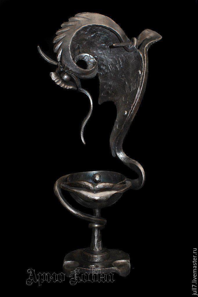 Купить Кубок Женщина Птица - серебряный, стальной, сюрреализм, авторская ручная работа, художественная ковка
