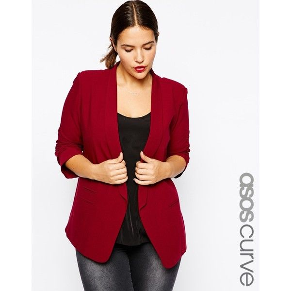 ASOS CURVE Blazer in Crepe with Slim Lapel ($81) ❤ liked on Polyvore  featuring