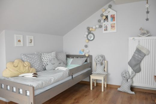 Ikea Mygga Bed (we have it in black-brown) and darling cloud & polka dot pillows