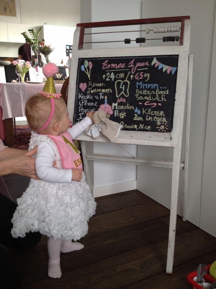 Eerste verjaardag - verjaardagsfeest 1 jaar - party animals - bord met leuke weetjes