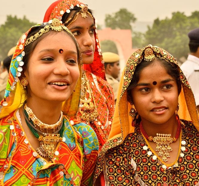 Students from local schools who performed during Pushkar Fair inauguration