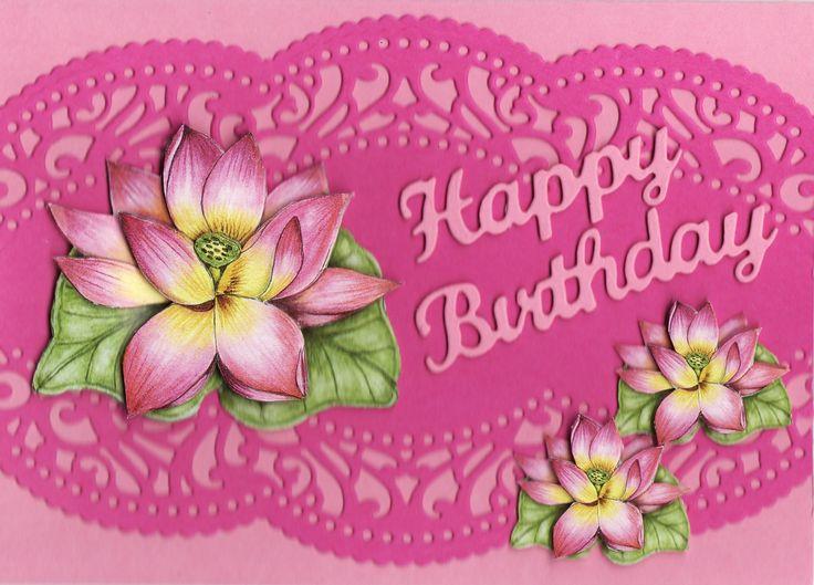 3D water lillies 'Happy Birthday' Card (by Tassie Scrapangel)