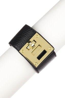 Gold Buckle Black Leather Bracelet