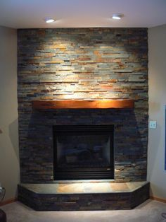 stone fireplace surround with tv - Google Search