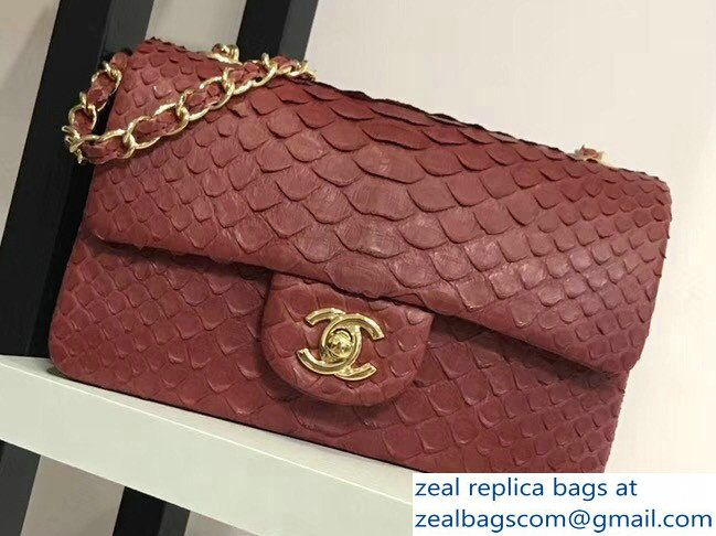 d2b3a89e02db Chanel Python Classic Flap Small Bag A1116 burgundy 2018
