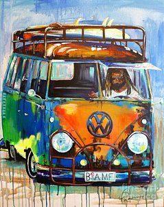 Vw Bus Painting - Bamf-vw Microbus by Denise Morencie