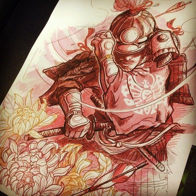 New projects #humanflytattoo #jeetattoo#samurai#tattoos