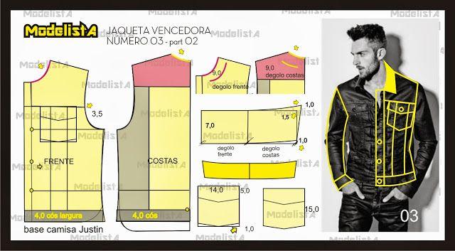Jaqueta masculina com manga duas folhas. Fonte: ModelistA