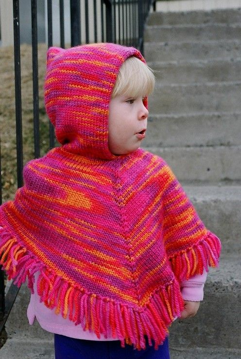 Knitting Pure and Simple--Diane Soucy--Children's Poncho (ages 2 - 12, Top Down)
