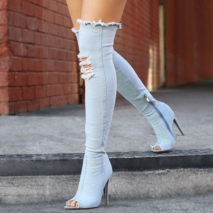 Shoespie Street Distressed Thigh High Stiletto Denim Boots