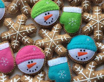 Galletas muñeco de nieve adornos festivos adornos fieltro adornos festivos árbol adornos festivos Cookies-manopla copo de nieve ornamento adornos de fieltro