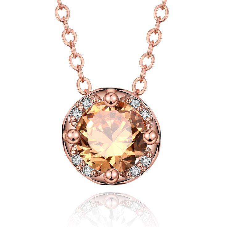 Trendy Rose Gold Plated Round Cubic Zirconia Necklaces for Women GPP403