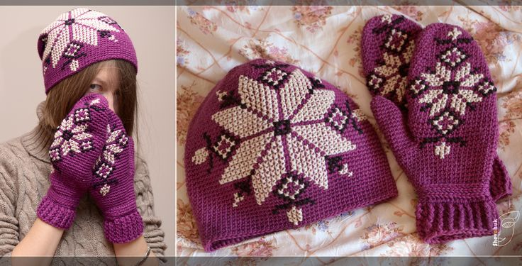 purple knitted crochet hat with Ukrainian embroidery