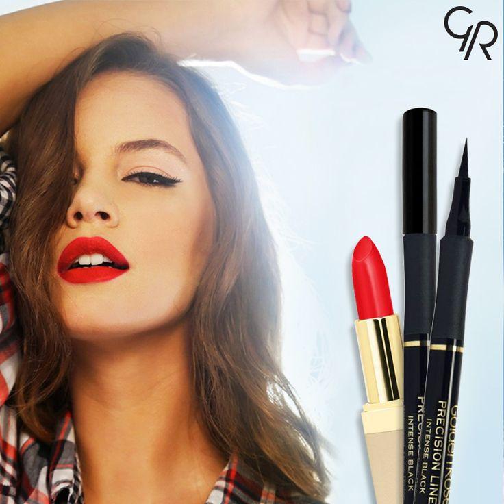 Yeni haftaya kırmızı ve siyahın etkileyici uyumuyla başlıyoruz. Ultra Rich Color Lipstick ve Precision Liner!