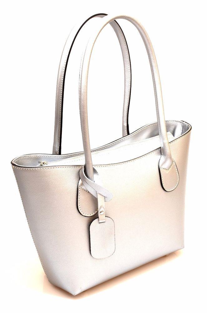 HAND BAG 15 ARGENTO O Pelle Borsa Mano Tracolla Shopping Donna Primavera 2017