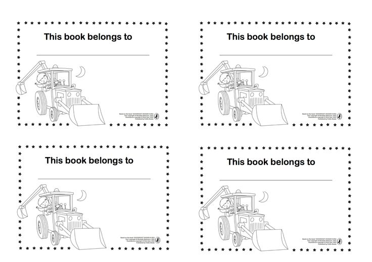 Make your mark on your home library with these cute Goodnight Digger book plates.