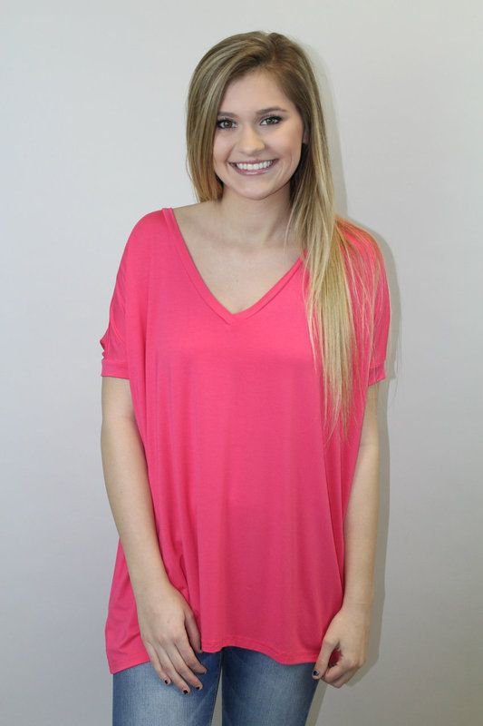 Hot Pink V-Neck Piko - Luna Boutique