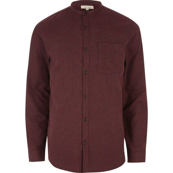 River Island Red pupstooth grandad flannel shirt (41 CAD) ❤ liked on Polyvore featuring men's fashion, men's clothing, men's shirts, men's casual shirts, shirts, men's regular fit shirts, mens red flannel shirt, mens grandad collar shirt, mens flannel shirts and mens red shirt