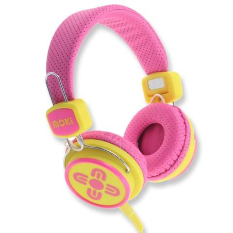 Kids Safe Volume Limited Pink & Yellow Headphones - School Depot NZ