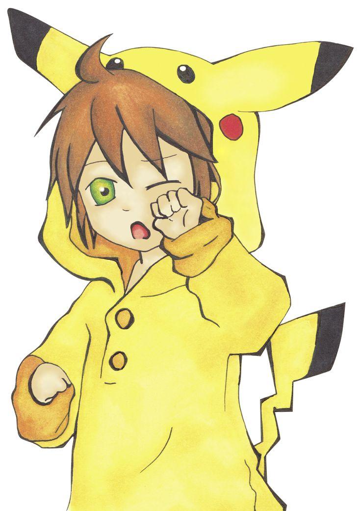 Kagamine Len personaje de Vocaloid con un kigurumi de pikachu  Pintado con rotuladores profesionales y las líneas con tinta china