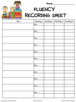 This Is A Reading Fluency Recording Sheet That Allows You To Record
