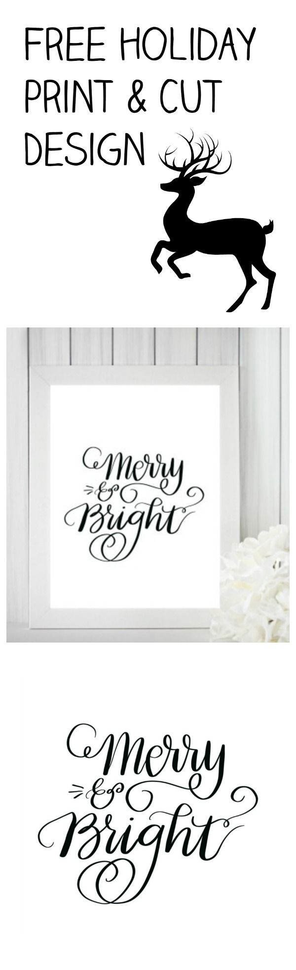 Merry and Bright Print and SVG Cut File