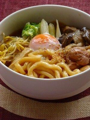 Chicken-Sukiyaki Udon Noodles Soup, Japanese Winter Dish 鶏すき焼きうどん