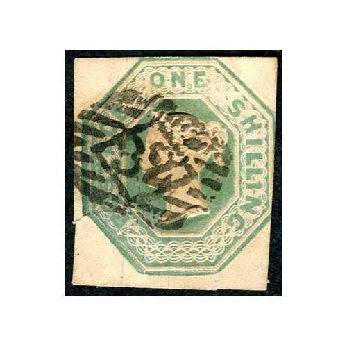 SG55 1/- Green Cut square (split at bottom) Cat 1000 pounds | eBay