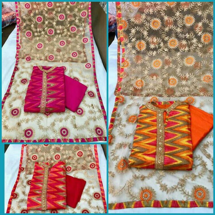 @1499+S:-Code Am  Pure kotta checkss digital printed shirt designer fabric semi stiched with inner attached , tissue duppata fully emb, cotton bottom .. Fitt up to xxl  Length 48